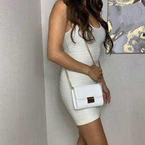 Offwhite Bebe Bandage Bodycon Mini Dress